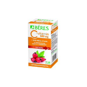 Béres C-vitamin 500 mg csipkebogyó kivonattal + 1000 NE D3-vitamin retard filmtabletta 90x