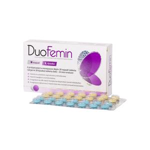 DuoFemin étrend kiegészítő tabletta vitaminokkal, ásványi anyagokkal és gyógynövényekkel 28x+28x