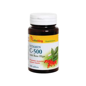 Vitaking 500mg C-vitamint és csipkebogyót tartalmazó tabletta 100x
